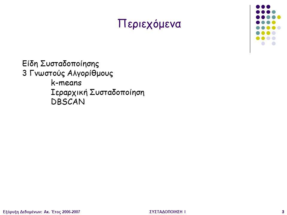 Εξόρυξη Δεδομένων: Ακ. Έτος 2006-2007ΣΥΣΤΑΔΟΠΟΙΗΣΗ Ι3 Είδη Συσταδοποίησης 3 Γνωστούς Αλγορίθμους k-means Ιεραρχική Συσταδοποίηση DBSCAN Περιεχόμενα