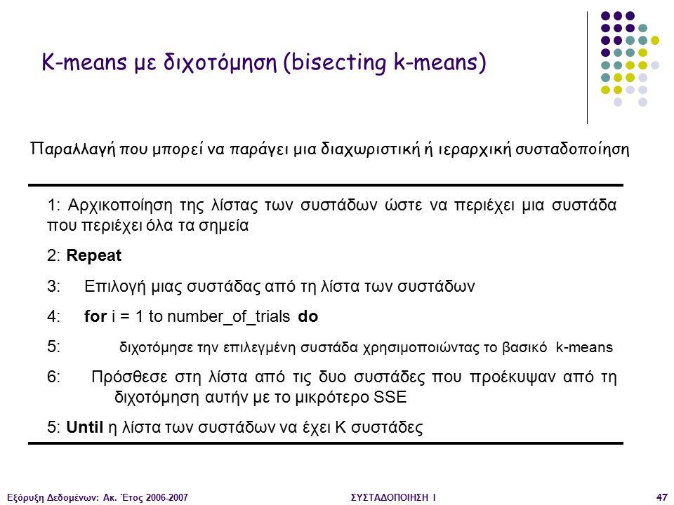 Εξόρυξη Δεδομένων: Ακ. Έτος 2006-2007ΣΥΣΤΑΔΟΠΟΙΗΣΗ Ι47 1: Αρχικοποίηση της λίστας των συστάδων ώστε να περιέχει μια συστάδα που περιέχει όλα τα σημεία