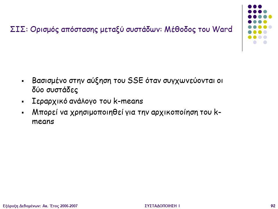 Εξόρυξη Δεδομένων: Ακ. Έτος 2006-2007ΣΥΣΤΑΔΟΠΟΙΗΣΗ Ι92  Βασισμένο στην αύξηση του SSE όταν συγχωνεύονται οι δύο συστάδες  Ιεραρχικό ανάλογο του k-me