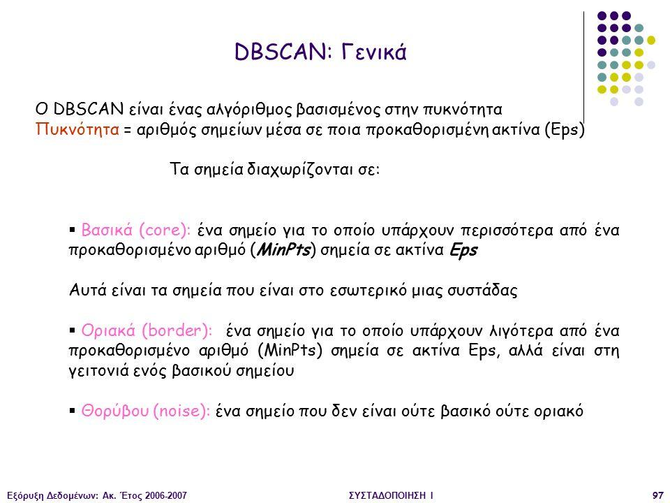 Εξόρυξη Δεδομένων: Ακ. Έτος 2006-2007ΣΥΣΤΑΔΟΠΟΙΗΣΗ Ι97 DBSCAN: Γενικά O DBSCAN είναι ένας αλγόριθμος βασισμένος στην πυκνότητα Πυκνότητα = αριθμός σημ