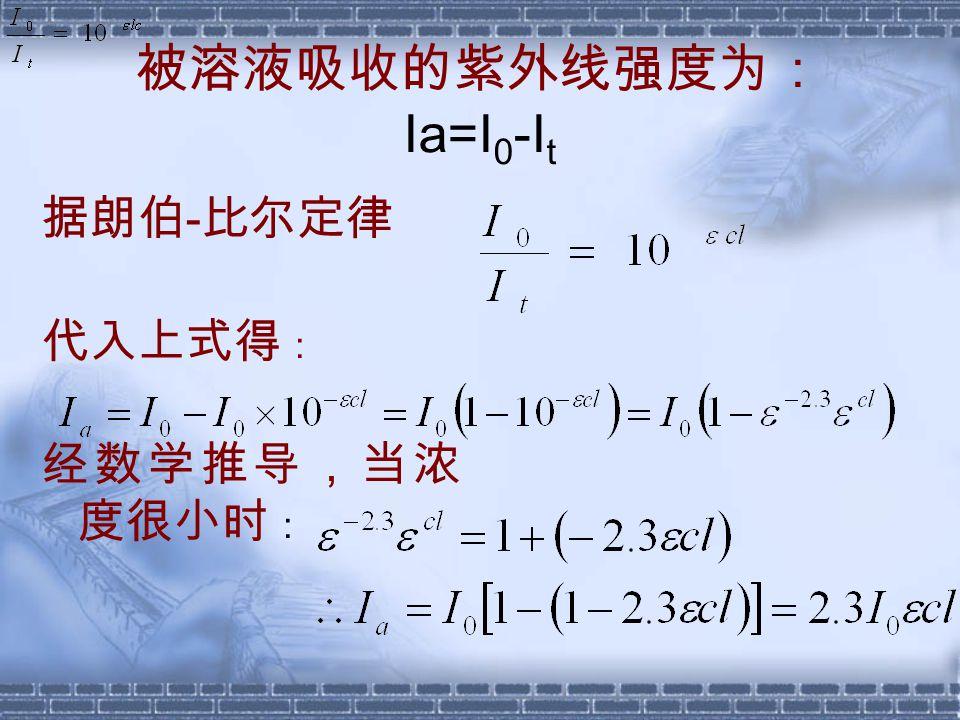 被溶液吸收的紫外线强度为: Ia=I 0 -I t 据朗伯 - 比尔定律 代入上式得 : 经数学推导,当浓 度很小时 :