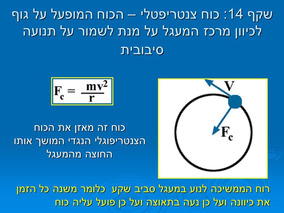 שקף 14: כוח צנטריפטלי – הכוח המופעל על גוף לכיוון מרכז המעגל על מנת לשמור על תנועה סיבובית כוח זה מאזן את הכוח הצנטריפוגלי הנגדי המושך אותו החוצה מהמע
