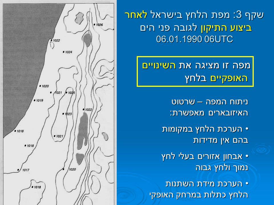 שקף 3: מפת הלחץ בישראל לאחר ביצוע התיקון לגובה פני הים 06.01.1990 06UTC מפה זו מציגה את השינויים האופקיים בלחץ האופקיים בלחץ ניתוח המפה – שרטוט האיזוב