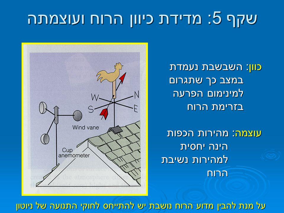 שקף 6: הכוחות המשפיעים על הרוח - חוקי התנועה של ניוטון  החוק הראשון של ניוטון: גוש אוויר יישאר במנוחה או ימשיך בתנועה בקו ישר ובמהירות קבועה כל עוד לא הופעל עליו כוח  החוק השני של ניוטון: על מנת שגוש אוויר יתחיל לנוע (יישנה את מהירותו ו/או כיוונו) דרושה התערבות של כוח חיצוני על הגוש כוח זה הוא: F = ma (התאוצה ביחס ישר לכוח המופעל) כוח זה הוא: F = ma (התאוצה ביחס ישר לכוח המופעל)  החוק השני מתייחס לסך הכוחות הפועלים על גוף: ΣF = ma  הגוף יתמיד בתאוצה בכיוון בו שקול הכוחות פועל עליו.