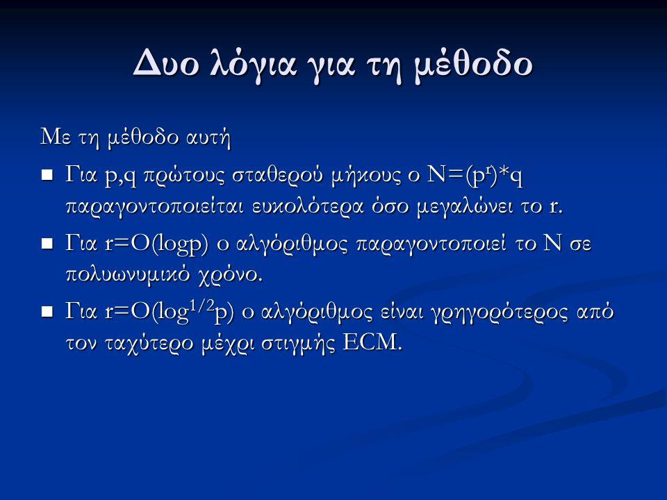 Δυο λόγια για τη μέθοδο Με τη μέθοδο αυτή Για p,q πρώτους σταθερού μήκους ο N=(p r )*q παραγοντοποιείται ευκολότερα όσο μεγαλώνει το r. Για p,q πρώτου