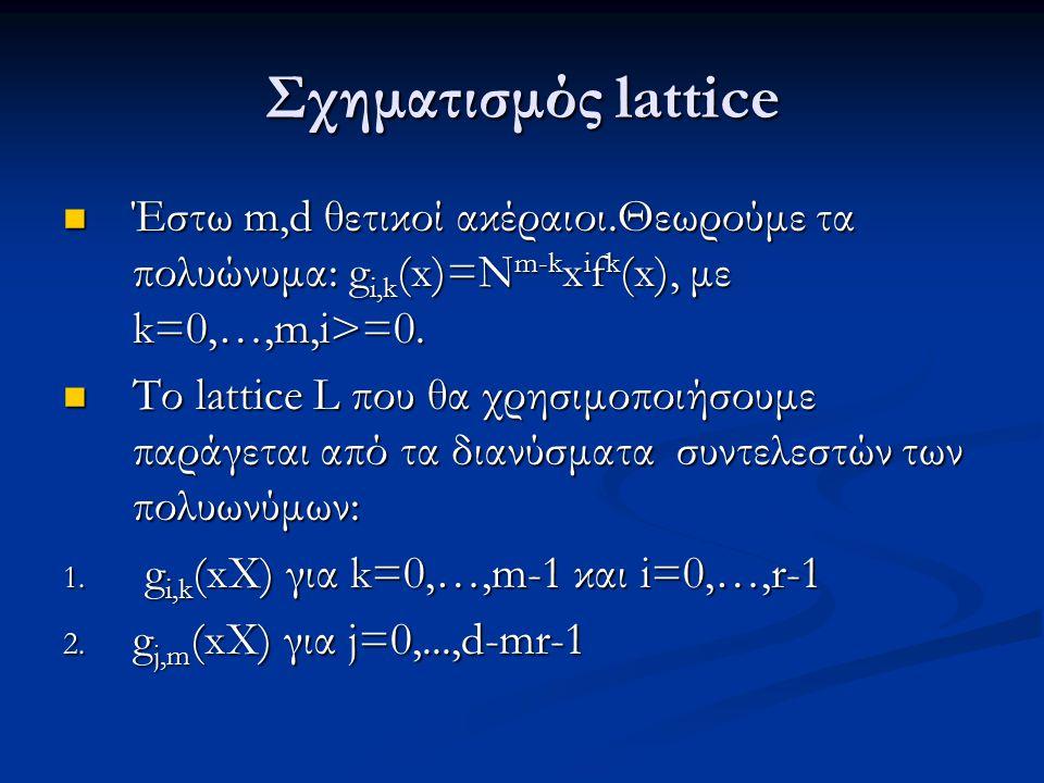 Σχηματισμός lattice Έστω m,d θετικοί ακέραιοι.Θεωρούμε τα πολυώνυμα: g i,k (x)=N m-k x i f k (x), με k=0,…,m,i>=0. Έστω m,d θετικοί ακέραιοι.Θεωρούμε