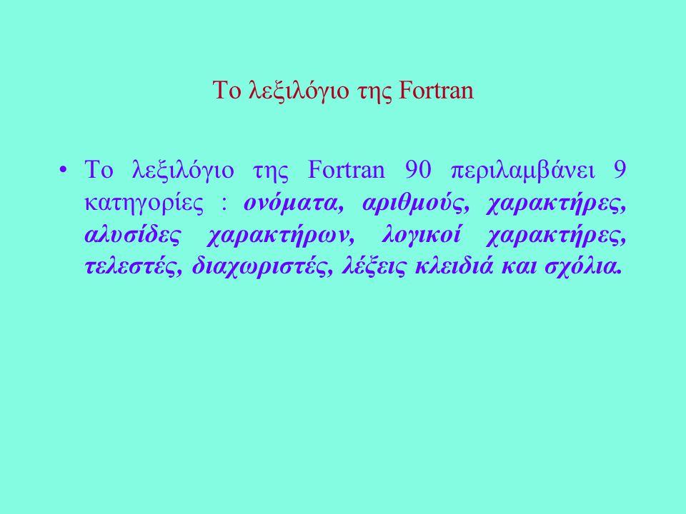 Το λεξιλόγιο της Fortran Το λεξιλόγιο της Fortran 90 περιλαμβάνει 9 κατηγορίες : ονόματα, αριθμούς, χαρακτήρες, αλυσίδες χαρακτήρων, λογικοί χαρακτήρες, τελεστές, διαχωριστές, λέξεις κλειδιά και σχόλια.