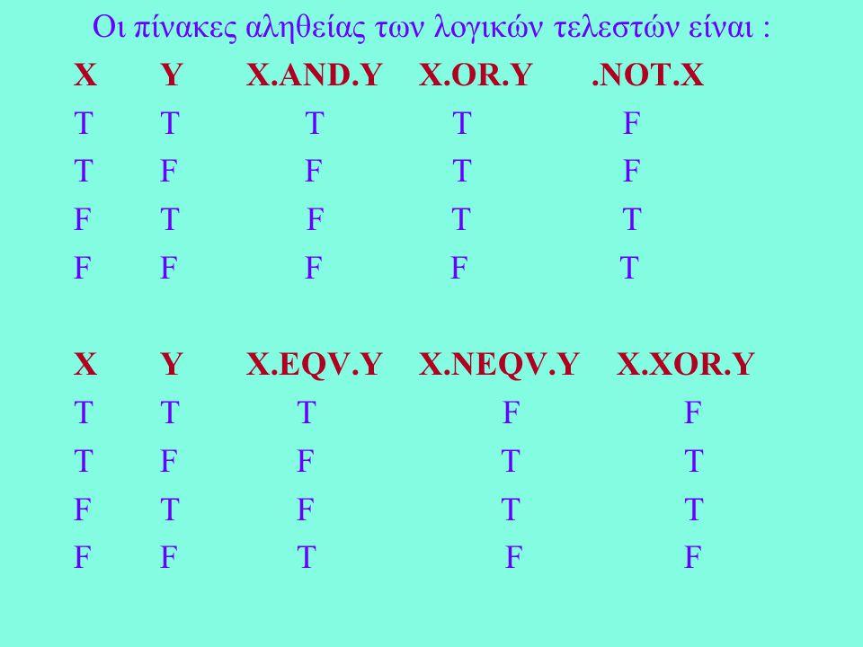Οι πίνακες αληθείας των λογικών τελεστών είναι : ΧYX.AND.YX.OR.Y.NOT.X TT T T F TF F T F FT F T T FF F F T ΧYX.EQV.YX.NEQV.Y X.XOR.Y TT T F F TF F T T FT F T T FF T F F