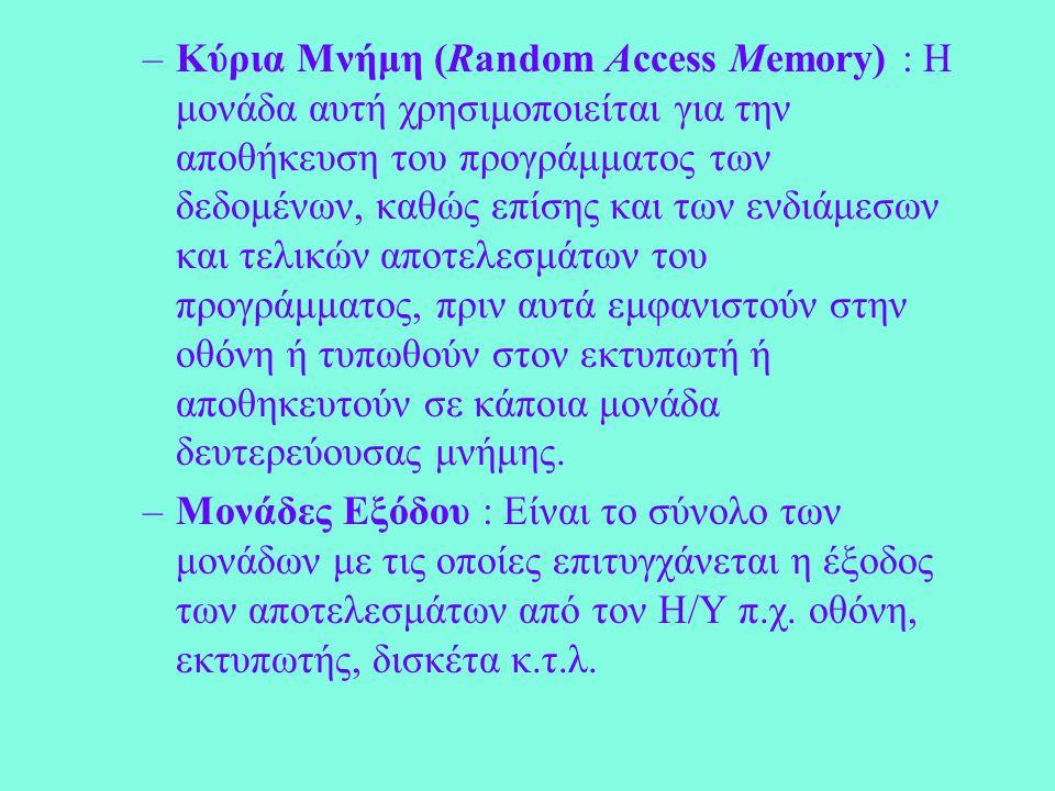 –Κύρια Μνήμη (Random Access Memory) : Η μονάδα αυτή χρησιμοποιείται για την αποθήκευση του προγράμματος των δεδομένων, καθώς επίσης και των ενδιάμεσων και τελικών αποτελεσμάτων του προγράμματος, πριν αυτά εμφανιστούν στην οθόνη ή τυπωθούν στον εκτυπωτή ή αποθηκευτούν σε κάποια μονάδα δευτερεύουσας μνήμης.