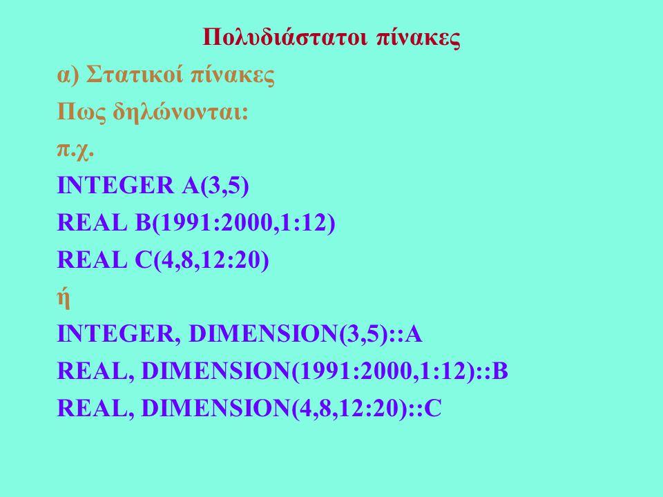 Πολυδιάστατοι πίνακες α) Στατικοί πίνακες Πως δηλώνονται: π.χ.