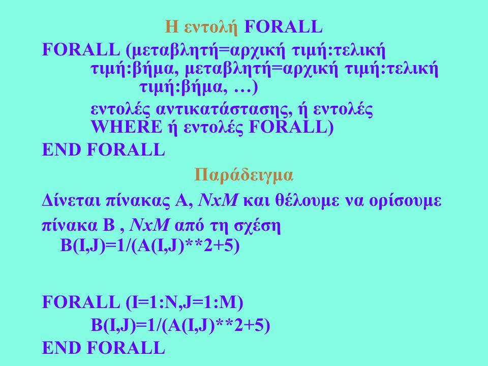 Η εντολή FORALL FORALL (μεταβλητή=αρχική τιμή:τελική τιμή:βήμα, μεταβλητή=αρχική τιμή:τελική τιμή:βήμα, …) εντολές αντικατάστασης, ή εντολές WHERE ή εντολές FORALL) END FORALL Παράδειγμα Δίνεται πίνακας Α, NxM και θέλουμε να ορίσουμε πίνακα Β, NxM από τη σχέση B(I,J)=1/(A(I,J)**2+5) FORALL (I=1:N,J=1:M) B(I,J)=1/(A(I,J)**2+5) END FORALL