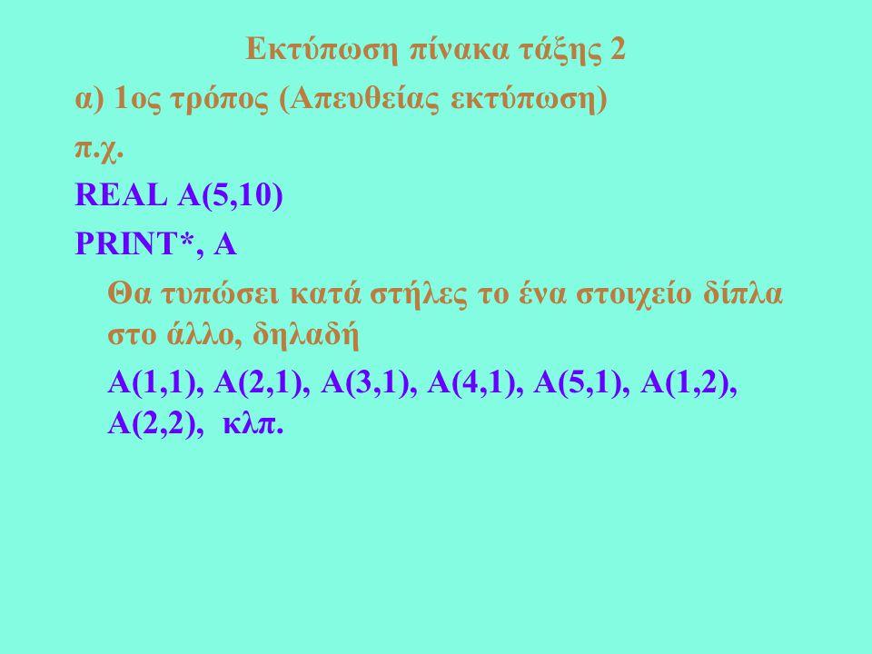 Εκτύπωση πίνακα τάξης 2 α) 1ος τρόπος (Απευθείας εκτύπωση) π.χ.
