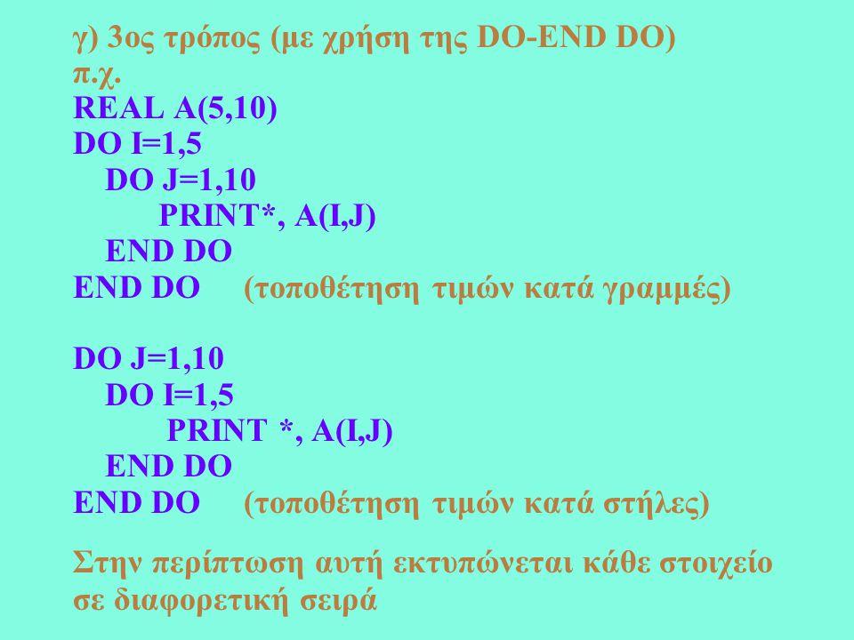 Παράδειγμα Να γράψετε πρόγραμμα που θα διαβάζει ένα δυναμικό πίνακα Α και θα ορίζει τον πίνακα Β από τις σχέσεις 1/A(I,J), A(I,J)  0 B(I,J)= 3,A(I,J)=0 WHERE (A/=0) B=1/A ELSEWHERE B=3 END WHERE