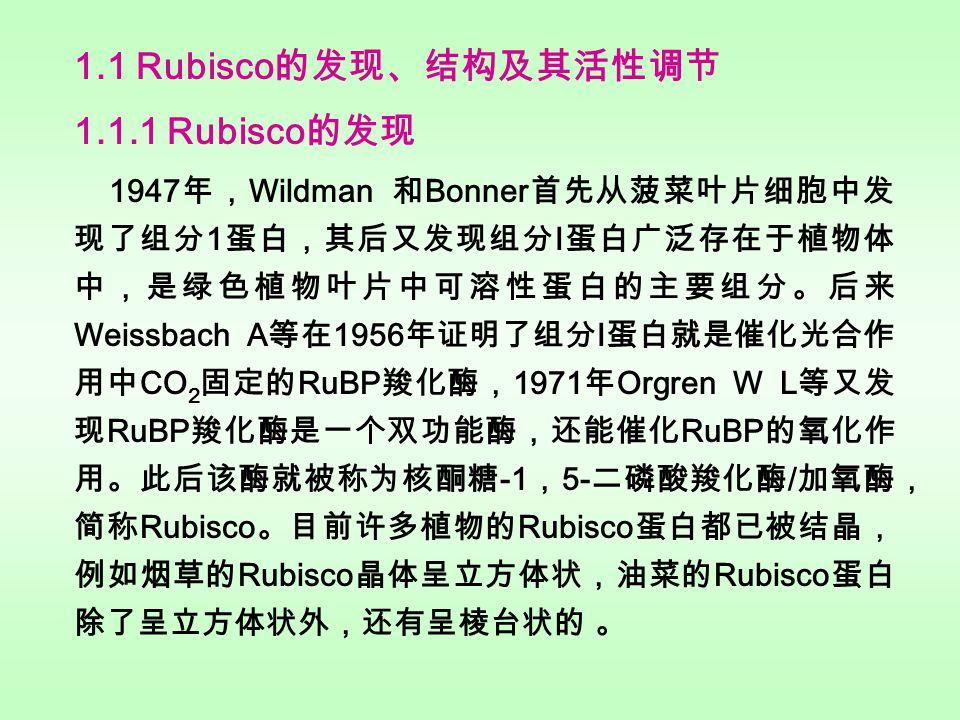 1.1 Rubisco 的发现、结构及其活性调节 1.1.1 Rubisco 的发现 1947 年, Wildman 和 Bonner 首先从菠菜叶片细胞中发 现了组分 1 蛋白,其后又发现组分 I 蛋白广泛存在于植物体 中,是绿色植物叶片中可溶性蛋白的主要组分。后来 Weissbach A 等在 1956 年证明了组分 I 蛋白就是催化光合作 用中 CO 2 固定的 RuBP 羧化酶, 1971 年 Orgren W L 等又发 现 RuBP 羧化酶是一个双功能酶,还能催化 RuBP 的氧化作 用。此后该酶就被称为核酮糖 -1 , 5- 二磷酸羧化酶 / 加氧酶, 简称 Rubisco 。目前许多植物的 Rubisco 蛋白都已被结晶, 例如烟草的 Rubisco 晶体呈立方体状,油菜的 Rubisco 蛋白 除了呈立方体状外,还有呈棱台状的 。