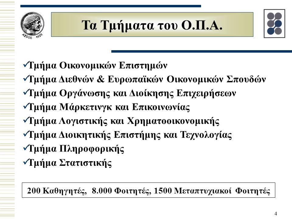 4 Τα Τμήματα του Ο.Π.Α. Τμήμα Οικονομικών Επιστημών Τμήμα Διεθνών & Ευρωπαϊκών Οικονομικών Σπουδών Τμήμα Οργάνωσης και Διοίκησης Επιχειρήσεων Τμήμα Μά