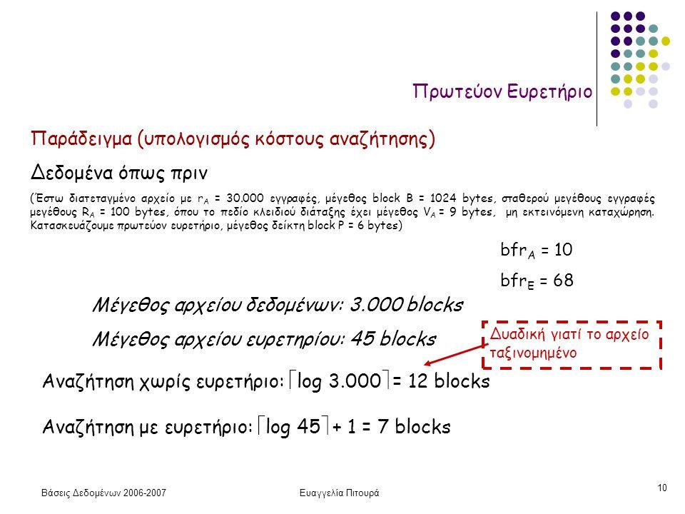 Βάσεις Δεδομένων 2006-2007Ευαγγελία Πιτουρά 10 Πρωτεύον Ευρετήριο Παράδειγμα (υπολογισμός κόστους αναζήτησης) Δεδομένα όπως πριν (Έστω διατεταγμένο αρχείο με r A = 30.000 εγγραφές, μέγεθος block B = 1024 bytes, σταθερού μεγέθους εγγραφές μεγέθους R A = 100 bytes, όπου το πεδίο κλειδιού διάταξης έχει μέγεθος V A = 9 bytes, μη εκτεινόμενη καταχώρηση.