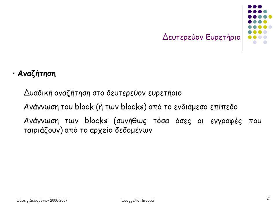 Βάσεις Δεδομένων 2006-2007Ευαγγελία Πιτουρά 24 Δευτερεύον Ευρετήριο Αναζήτηση Δυαδική αναζήτηση στο δευτερεύον ευρετήριο Ανάγνωση του block (ή των blocks) από το ενδιάμεσο επίπεδο Ανάγνωση των blocks (συνήθως τόσα όσες οι εγγραφές που ταιριάζουν) από το αρχείο δεδομένων