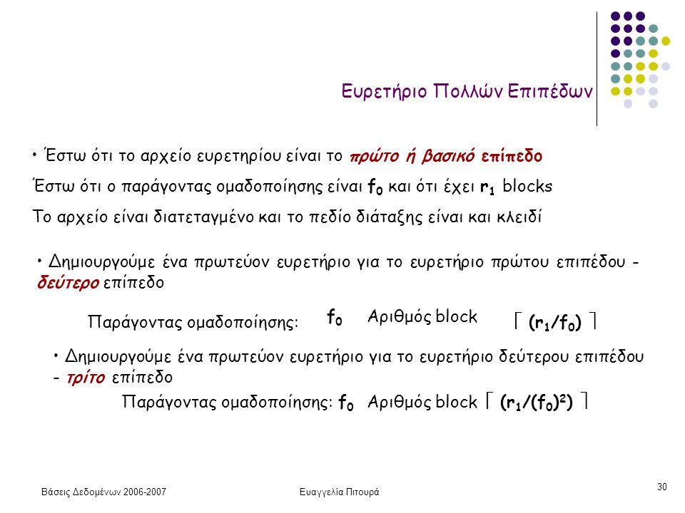 Βάσεις Δεδομένων 2006-2007Ευαγγελία Πιτουρά 30 Ευρετήριο Πολλών Επιπέδων Έστω ότι το αρχείο ευρετηρίου είναι το πρώτο ή βασικό επίπεδο Έστω ότι ο παράγοντας ομαδοποίησης είναι f 0 και ότι έχει r 1 blocks Το αρχείο είναι διατεταγμένο και το πεδίο διάταξης είναι και κλειδί Δημιουργούμε ένα πρωτεύον ευρετήριο για το ευρετήριο πρώτου επιπέδου - δεύτερο επίπεδο Παράγοντας ομαδοποίησης: f0f0 Αριθμός block  (r 1 /f 0 )  Δημιουργούμε ένα πρωτεύον ευρετήριο για το ευρετήριο δεύτερου επιπέδου - τρίτο επίπεδο Παράγοντας ομαδοποίησης:f0f0 Αριθμός block  (r 1 /(f 0 ) 2 ) 