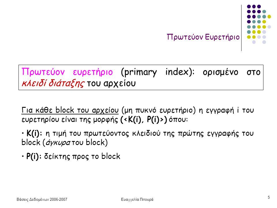 Βάσεις Δεδομένων 2006-2007Ευαγγελία Πιτουρά 5 Πρωτεύον Ευρετήριο Πρωτεύον ευρετήριο (primary index): ορισμένο στο κλειδί διάταξης του αρχείου Για κάθε block του αρχείου (μη πυκνό ευρετήριο) η εγγραφή i του ευρετηρίου είναι της μορφής ( ) όπου: Κ(i): η τιμή του πρωτεύοντος κλειδιού της πρώτης εγγραφής του block (άγκυρα του block) P(i): δείκτης προς το block