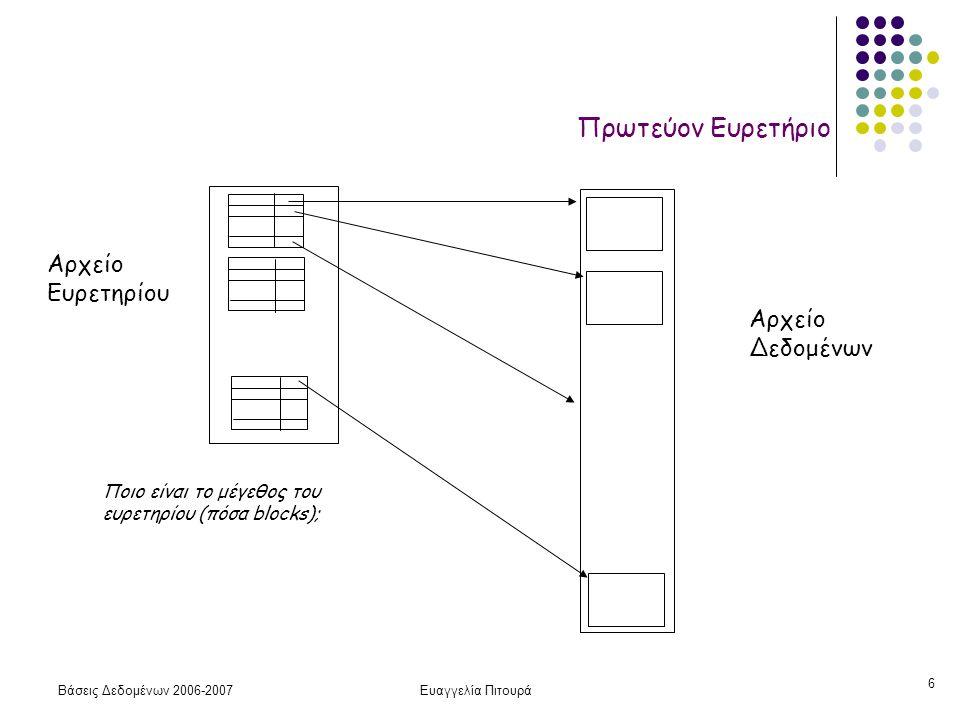 Βάσεις Δεδομένων 2006-2007Ευαγγελία Πιτουρά 27 Τα ευρετήρια (ενός επιπέδου) χωρίζονται σε: l Πρωτεύον Ευρετήριο: ορίζεται σε ένα αρχείο που είναι διατεταγμένο στο (κύριο) κλειδί.