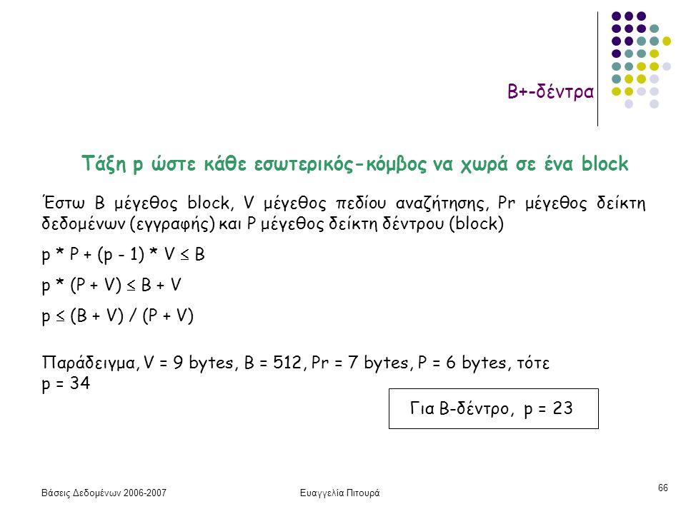 Βάσεις Δεδομένων 2006-2007Ευαγγελία Πιτουρά 66 Β+-δέντρα Τάξη p ώστε κάθε εσωτερικός-κόμβος να χωρά σε ένα block Έστω Β μέγεθος block, V μέγεθος πεδίου αναζήτησης, Pr μέγεθος δείκτη δεδομένων (εγγραφής) και P μέγεθος δείκτη δέντρου (block) p * P + (p - 1) * V  B p * (P + V)  B + V p  (B + V) / (P + V) Παράδειγμα, V = 9 bytes, B = 512, Pr = 7 bytes, P = 6 bytes, τότε p = 34 Για Β-δέντρο, p = 23