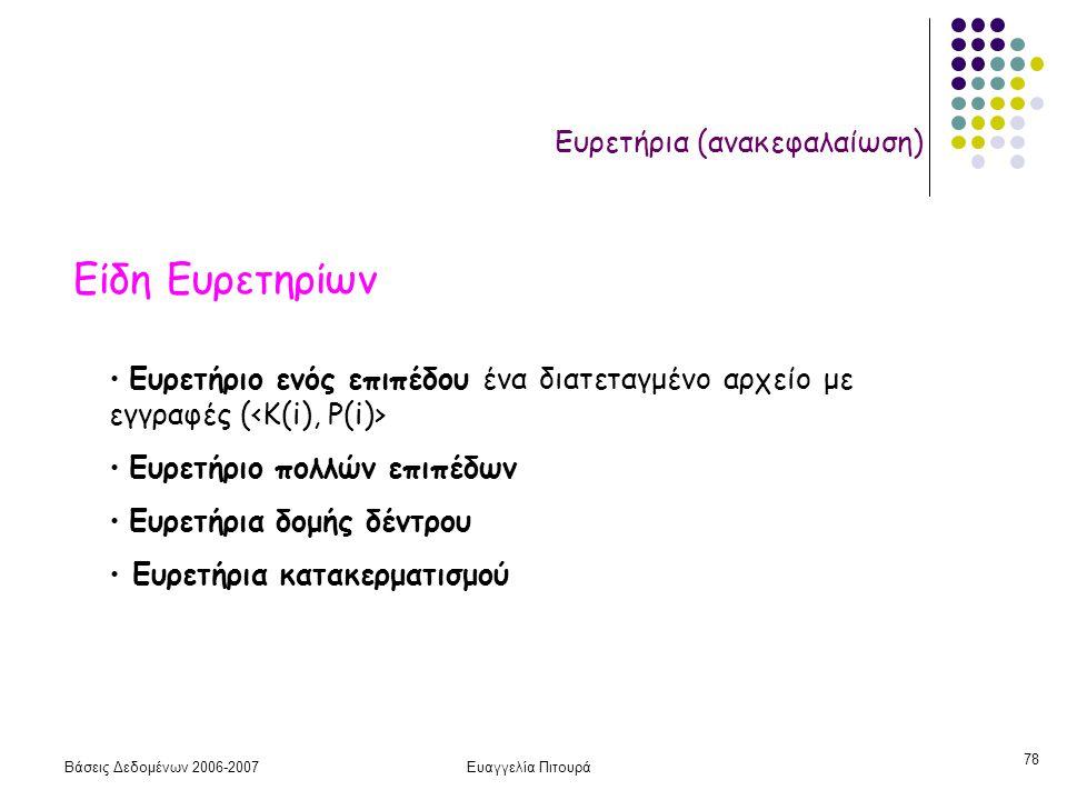 Βάσεις Δεδομένων 2006-2007Ευαγγελία Πιτουρά 78 Ευρετήρια (ανακεφαλαίωση) Είδη Ευρετηρίων Ευρετήριο ενός επιπέδου ένα διατεταγμένο αρχείο με εγγραφές ( Ευρετήριο πολλών επιπέδων Ευρετήρια δομής δέντρου Ευρετήρια κατακερματισμού