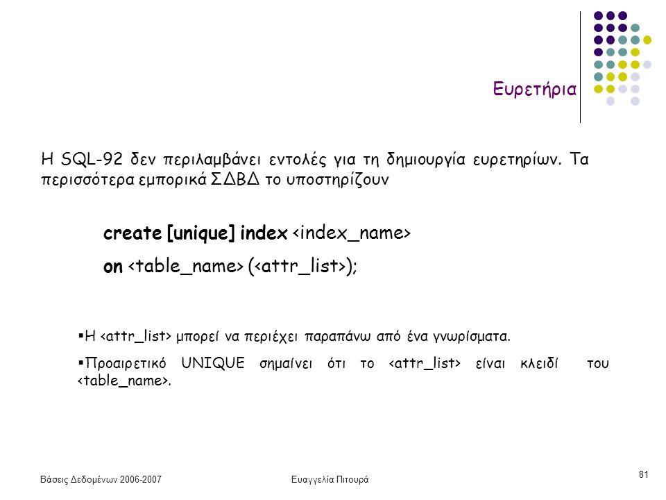 Βάσεις Δεδομένων 2006-2007Ευαγγελία Πιτουρά 81 Ευρετήρια create [unique] index on ( ); H SQL-92 δεν περιλαμβάνει εντολές για τη δημιουργία ευρετηρίων.