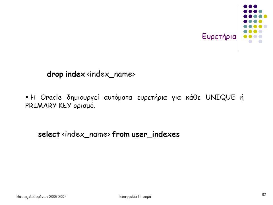 Βάσεις Δεδομένων 2006-2007Ευαγγελία Πιτουρά 82 Ευρετήρια drop index  H Oracle δημιουργεί αυτόματα ευρετήρια για κάθε UNIQUE ή PRIMARY KEY ορισμό.