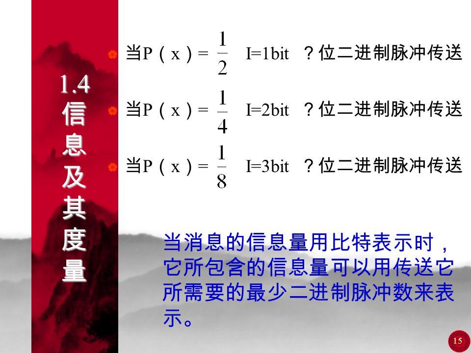 14 1.4 信 息 及 其 度 量  消息中所含的信息量 I 与消息出现的 概率 P ( x )的关系式应反映如下规律: 1.