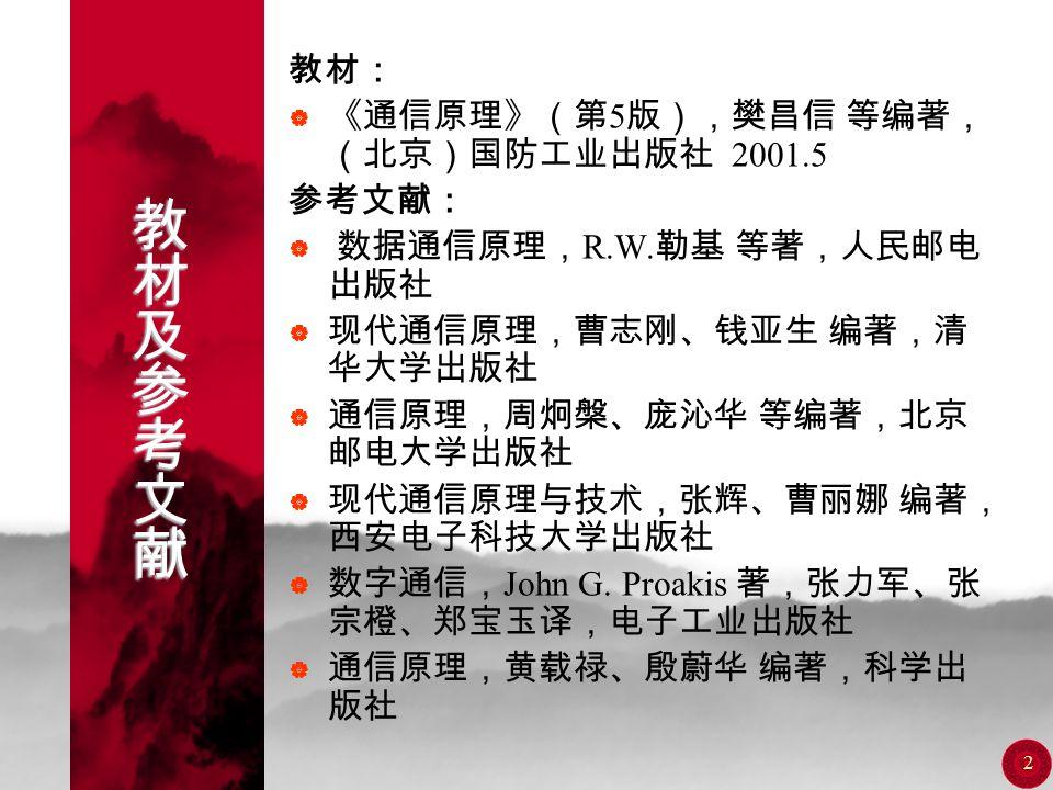 1 通信原理 周又玲 电话: 66278682 (办) 66257348 (家) E-Mail zhouyl@hainu.edu.cnzhouyl@hainu.edu.cn
