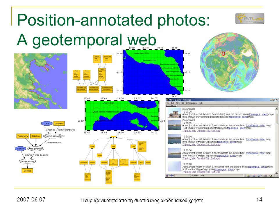 2007-06-07 Η ευρυζωνικότητα από τη σκοπιά ενός ακαδημαϊκού χρήστη 14 Position-annotated photos: A geotemporal web