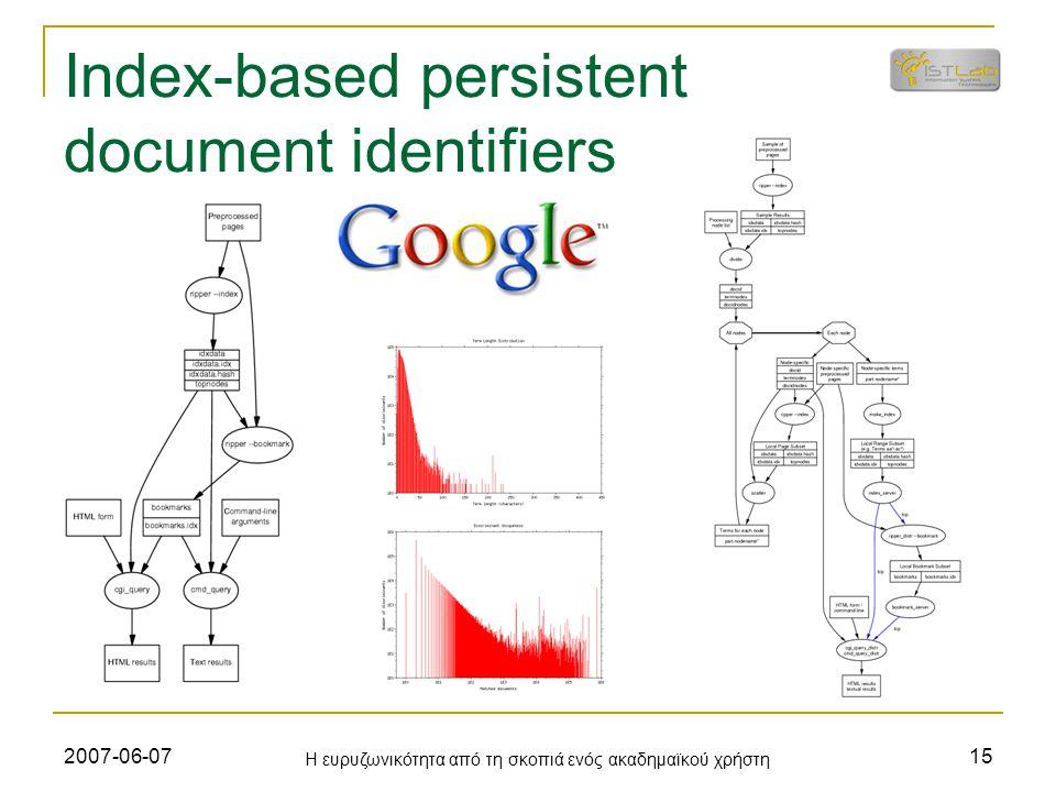 2007-06-07 Η ευρυζωνικότητα από τη σκοπιά ενός ακαδημαϊκού χρήστη 15 Index-based persistent document identifiers