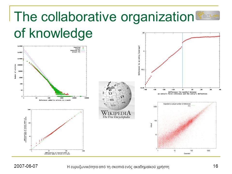 2007-06-07 Η ευρυζωνικότητα από τη σκοπιά ενός ακαδημαϊκού χρήστη 16 The collaborative organization of knowledge