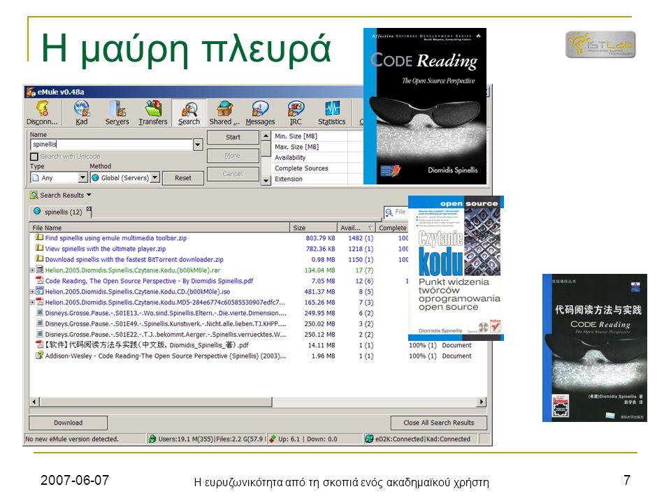 2007-06-07 Η ευρυζωνικότητα από τη σκοπιά ενός ακαδημαϊκού χρήστη 8 Ιστολόγιο http://www.spinellis.gr/blog