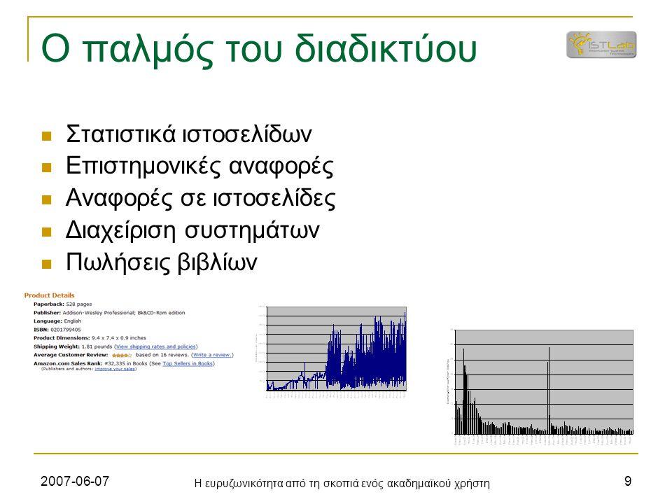 2007-06-07 Η ευρυζωνικότητα από τη σκοπιά ενός ακαδημαϊκού χρήστη 9 Ο παλμός του διαδικτύου Στατιστικά ιστοσελίδων Επιστημονικές αναφορές Αναφορές σε ιστοσελίδες Διαχείριση συστημάτων Πωλήσεις βιβλίων