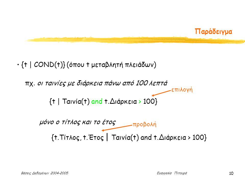 Βάσεις Δεδομένων 2004-2005 Ευαγγελία Πιτουρά 10 Παράδειγμα {t | COND(t)} (όπου t μεταβλητή πλειάδων) πχ.