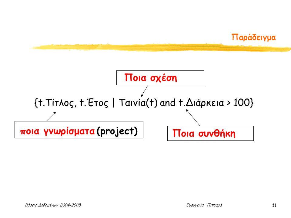 Βάσεις Δεδομένων 2004-2005 Ευαγγελία Πιτουρά 11 Παράδειγμα {t.Τίτλος, t.Έτος | Ταινία(t) and t.Διάρκεια > 100} ποια γνωρίσματα (project) Ποια σχέση Ποια συνθήκη