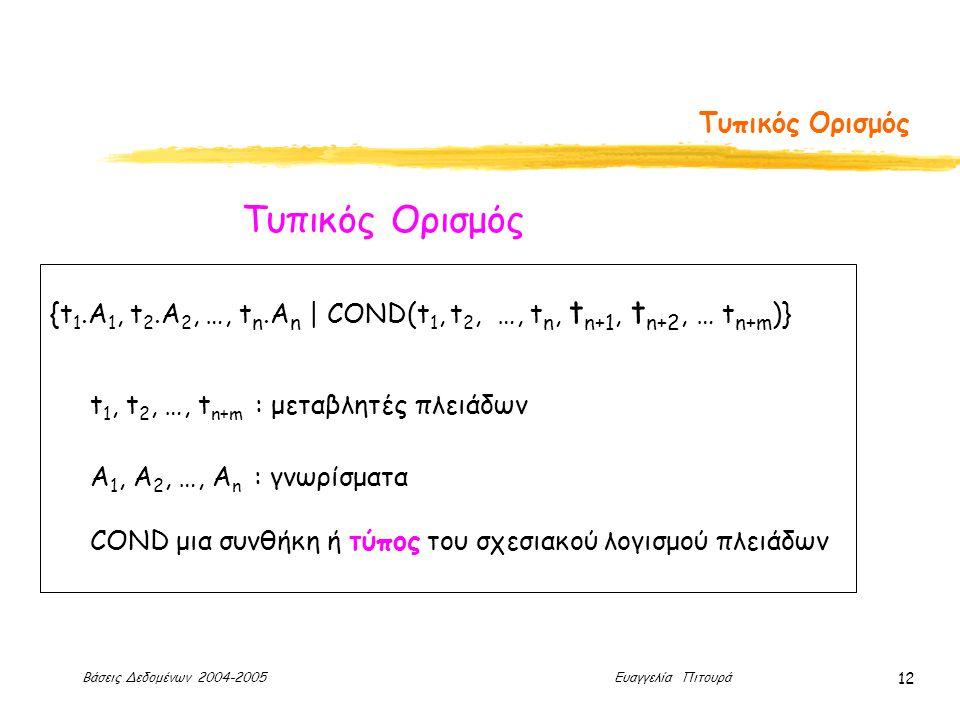 Βάσεις Δεδομένων 2004-2005 Ευαγγελία Πιτουρά 12 Τυπικός Ορισμός {t 1.A 1, t 2.A 2, …, t n.A n | COND(t 1, t 2, …, t n, t n+1, t n+2, … t n+m )} t 1, t 2, …, t n+m : μεταβλητές πλειάδων Α 1, Α 2, …, Α n : γνωρίσματα COND μια συνθήκη ή τύπος του σχεσιακού λογισμού πλειάδων