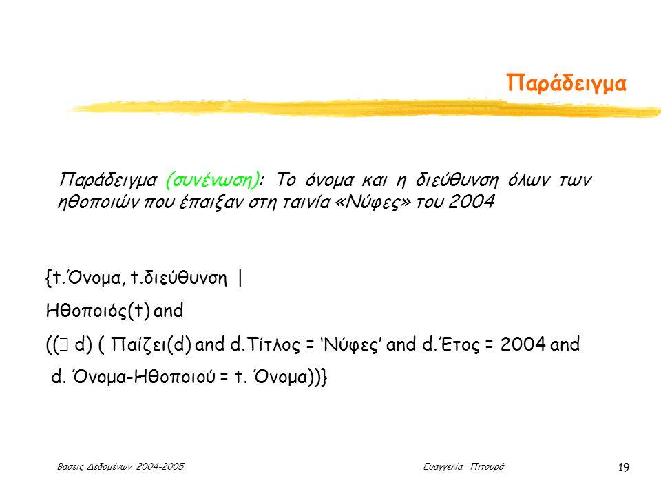 Βάσεις Δεδομένων 2004-2005 Ευαγγελία Πιτουρά 19 Παράδειγμα Παράδειγμα (συνένωση): Το όνομα και η διεύθυνση όλων των ηθοποιών που έπαιξαν στη ταινία «Νύφες» του 2004 {t.Όνομα, t.διεύθυνση | Ηθοποιός(t) and ((  d) ( Παίζει(d) and d.Τίτλος = 'Νύφες' and d.Έτος = 2004 and d.
