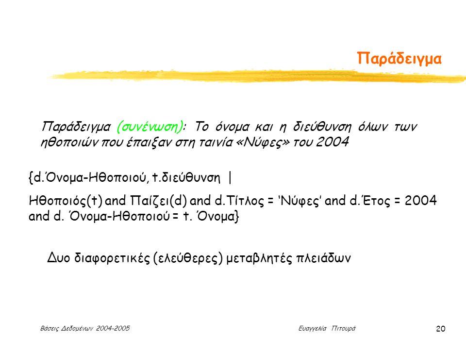Βάσεις Δεδομένων 2004-2005 Ευαγγελία Πιτουρά 20 Παράδειγμα Παράδειγμα (συνένωση): Το όνομα και η διεύθυνση όλων των ηθοποιών που έπαιξαν στη ταινία «Νύφες» του 2004 {d.Όνομα-Ηθοποιού, t.διεύθυνση | Ηθοποιός(t) and Παίζει(d) and d.Τίτλος = 'Νύφες' and d.Έτος = 2004 and d.