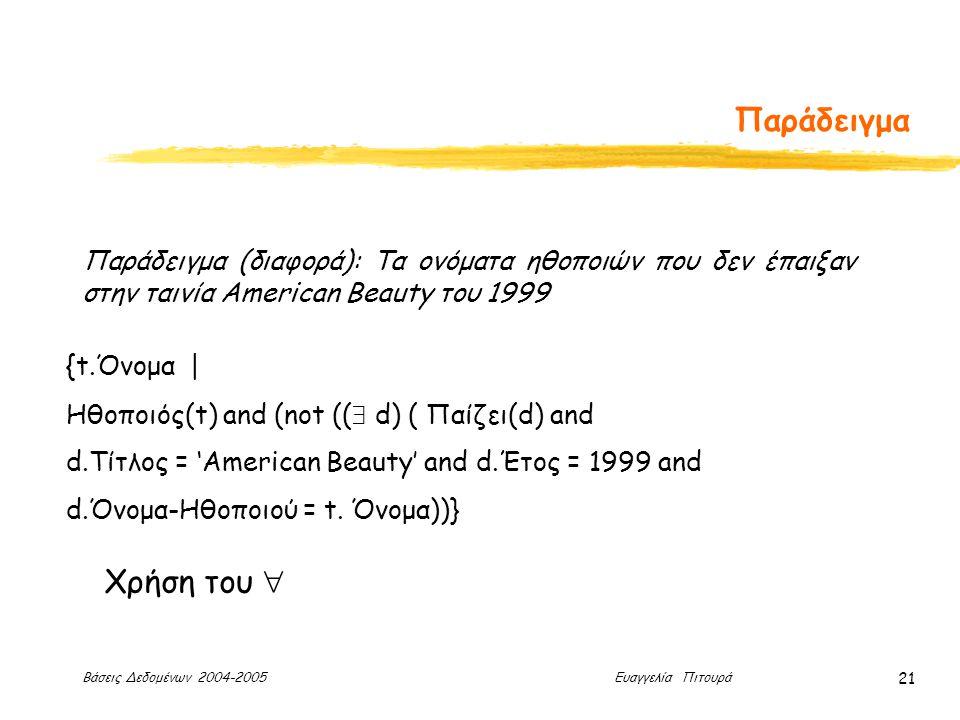 Βάσεις Δεδομένων 2004-2005 Ευαγγελία Πιτουρά 21 Παράδειγμα Παράδειγμα (διαφορά): Τα ονόματα ηθοποιών που δεν έπαιξαν στην ταινία American Beauty του 1999 {t.Όνομα | Ηθοποιός(t) and (not ((  d) ( Παίζει(d) and d.Τίτλος = 'Αmerican Beauty' and d.Έτος = 1999 and d.Όνομα-Ηθοποιού = t.