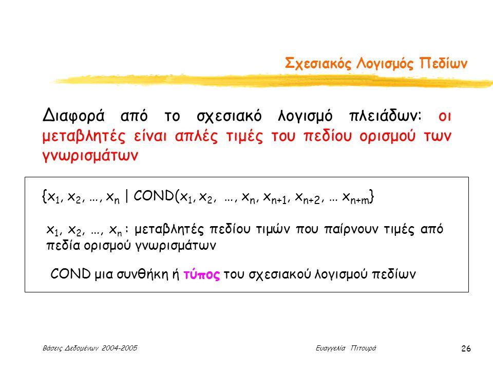 Βάσεις Δεδομένων 2004-2005 Ευαγγελία Πιτουρά 26 Σχεσιακός Λογισμός Πεδίων Διαφορά από το σχεσιακό λογισμό πλειάδων: οι μεταβλητές είναι απλές τιμές του πεδίου ορισμού των γνωρισμάτων {x 1, x 2, …, x n | COND(x 1, x 2, …, x n, x n+1, x n+2, … x n+m } x 1, x 2, …, x n : μεταβλητές πεδίου τιμών που παίρνουν τιμές από πεδία ορισμού γνωρισμάτων COND μια συνθήκη ή τύπος του σχεσιακού λογισμού πεδίων