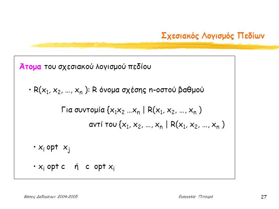 Βάσεις Δεδομένων 2004-2005 Ευαγγελία Πιτουρά 27 Σχεσιακός Λογισμός Πεδίων Άτομα του σχεσιακού λογισμού πεδίου R(x 1, x 2, …, x n ): R όνομα σχέσης n-οστού βαθμού x i opt x j x i opt c ή c opt x i Για συντομία {x 1 x 2 …x n | R(x 1, x 2, …, x n ) αντί του {x 1, x 2, …, x n | R(x 1, x 2, …, x n )