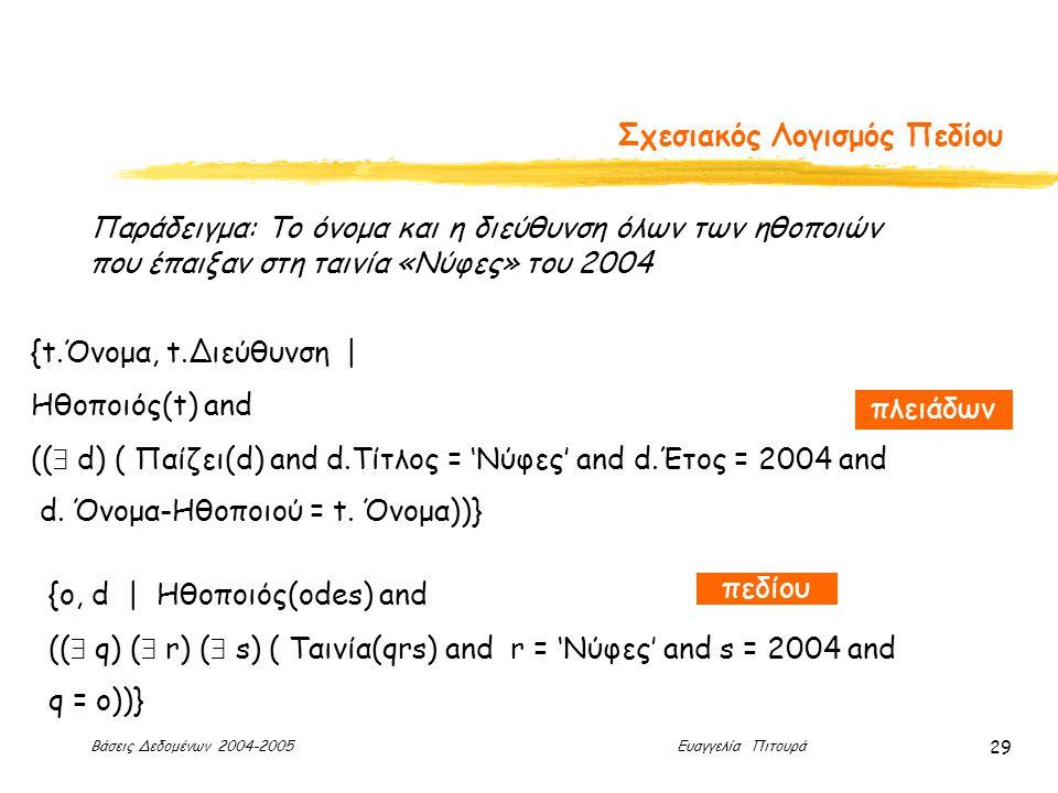 Βάσεις Δεδομένων 2004-2005 Ευαγγελία Πιτουρά 29 Σχεσιακός Λογισμός Πεδίου Παράδειγμα: Το όνομα και η διεύθυνση όλων των ηθοποιών που έπαιξαν στη ταινία «Νύφες» του 2004 {ο, d | Ηθοποιός(odes) and ((  q) (  r) (  s) ( Ταινία(qrs) and r = 'Νύφες' and s = 2004 and q = ο))} {t.Όνομα, t.Διεύθυνση | Ηθοποιός(t) and ((  d) ( Παίζει(d) and d.Τίτλος = 'Νύφες' and d.Έτος = 2004 and d.