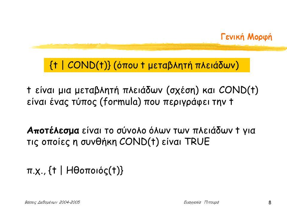 Βάσεις Δεδομένων 2004-2005 Ευαγγελία Πιτουρά 8 Γενική Μορφή {t | COND(t)} (όπου t μεταβλητή πλειάδων) t είναι μια μεταβλητή πλειάδων (σχέση) και COND(t) είναι ένας τύπος (formula) που περιγράφει την t Αποτέλεσμα είναι το σύνολο όλων των πλειάδων t για τις οποίες η συνθήκη COND(t) είναι TRUE π.χ., {t | Ηθοποιός(t)}