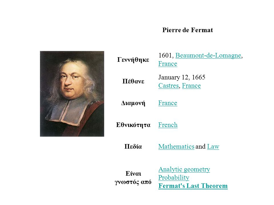 Pierre de Fermat Γεννήθηκε 1601, Beaumont-de-Lomagne, FranceBeaumont-de-Lomagne France Πέθανε January 12, 1665 Castres, France CastresFrance ΔιαμονήFrance ΕθνικότηταFrench ΠεδίαMathematicsMathematics and LawLaw Είναι γνωστός από Analytic geometry Probability Fermat s Last Theorem