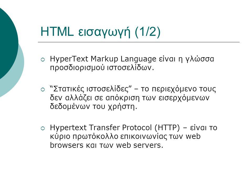 HTML εισαγωγή (2/2)  Ο web browser αναζητά μία ιστοσελίδα από τον web server στελνοντάς του ένα ΗΤΤP αίτημα αναζήτησης.