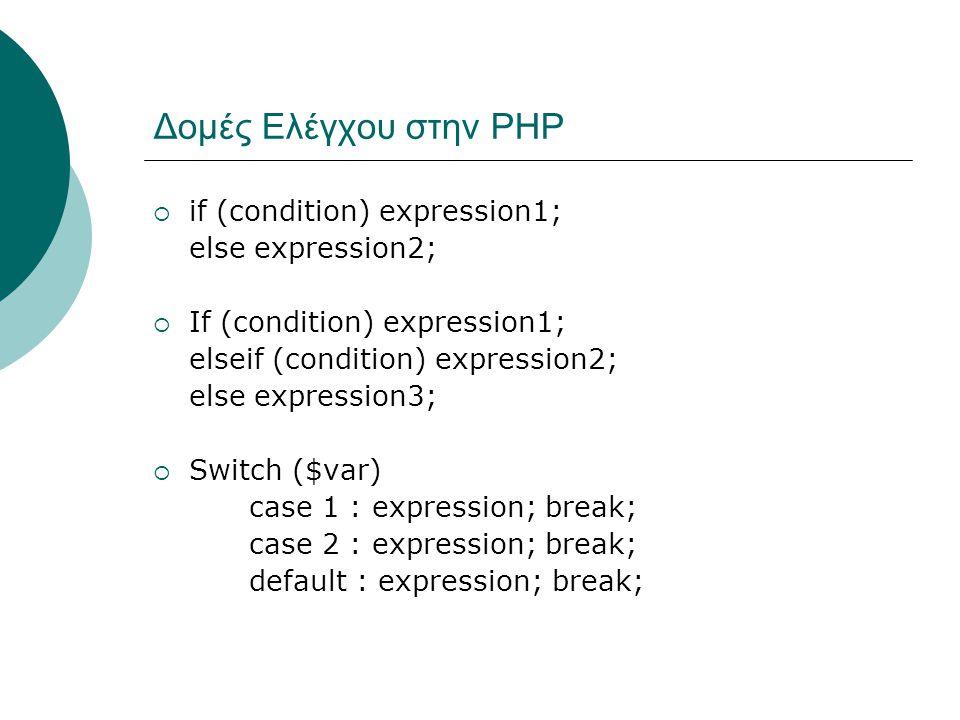 Δομές Ελέγχου στην ΡΗΡ  if (condition) expression1; else expression2;  If (condition) expression1; elseif (condition) expression2; else expression3;  Switch ($var) case 1 : expression; break; case 2 : expression; break; default : expression; break;