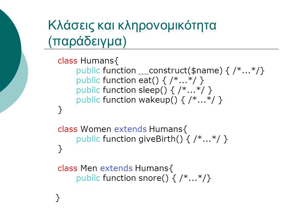 Κλάσεις και κληρονομικότητα (παράδειγμα) class Humans{ public function __construct($name) { /*...*/} public function eat() { /*...*/ } public function