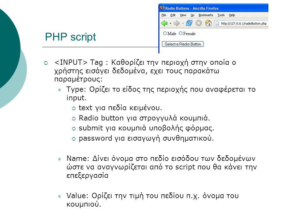 ΡΗΡ script  Tag : Καθορίζει την περιοχή στην οποία ο χρήστης εισάγει δεδομένα, εχει τους παρακάτω παραμέτρους: Type: Ορίζει το είδος της περιοχής που